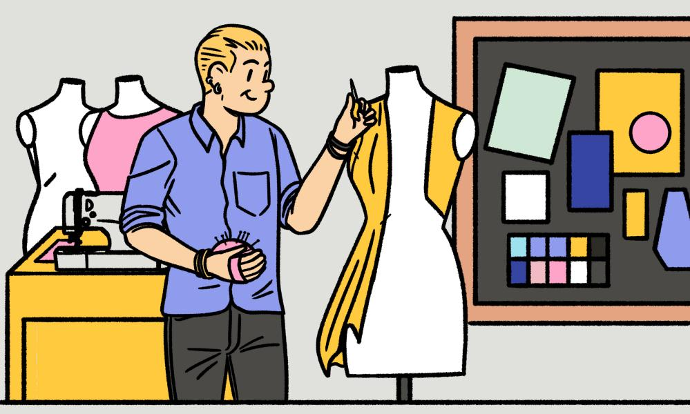 Illustration of a fashion student working on a garment.