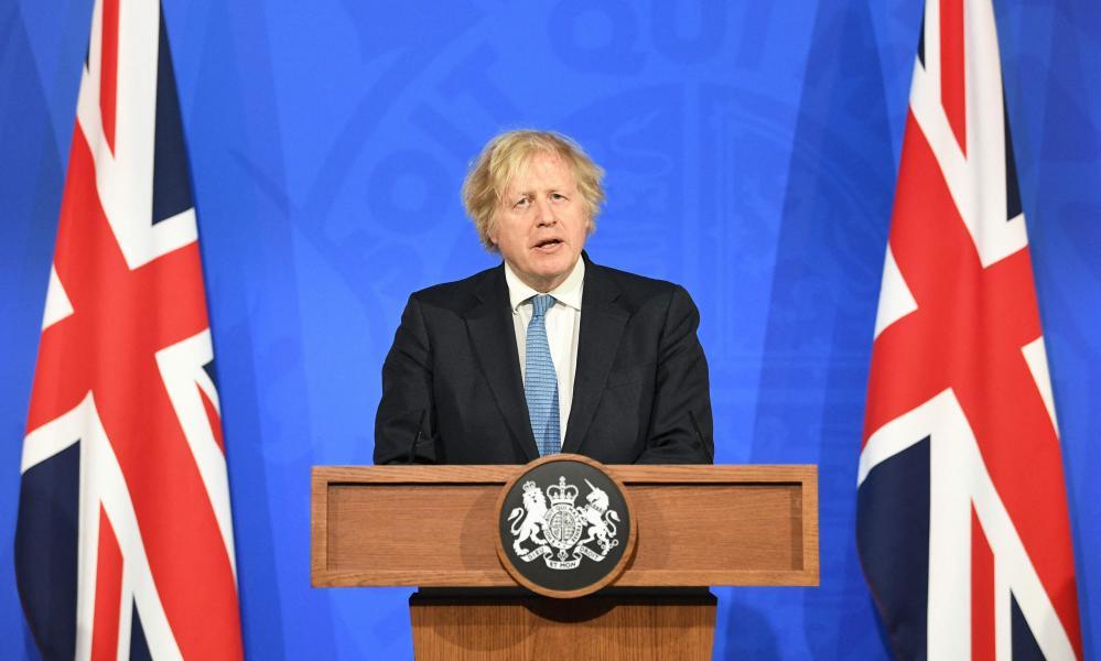 Boris Johnson gives a briefing at Downing Street on 5 April.
