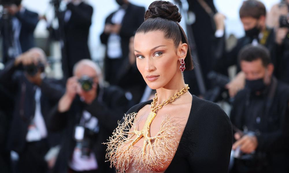 Bella Hadid in a Schiaparelli breastplate at Cannes