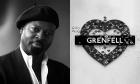 Ben Okri (left) and the Grenfell heart.