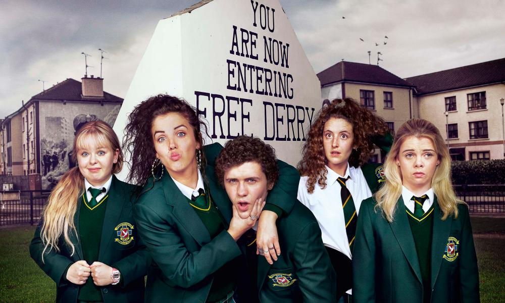 Four bolshy schoolgirls and one confused boy: Clare, Michelle, James, Orla and Erin in Derry Girls.