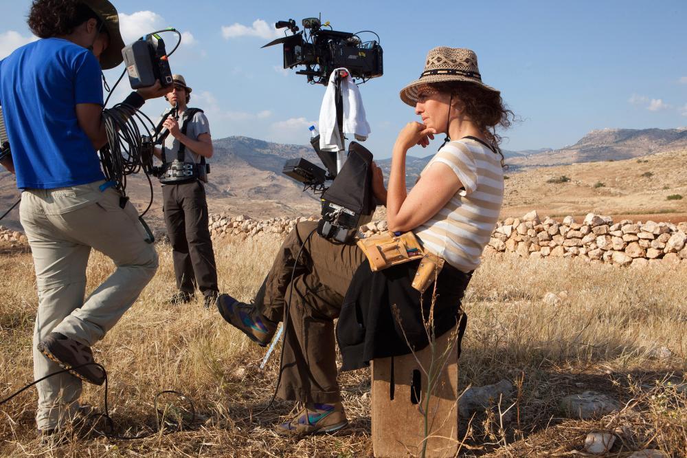 Oscar entrant … Palestinian director Annemarie Jacir, a former protege, on location in Jordan.