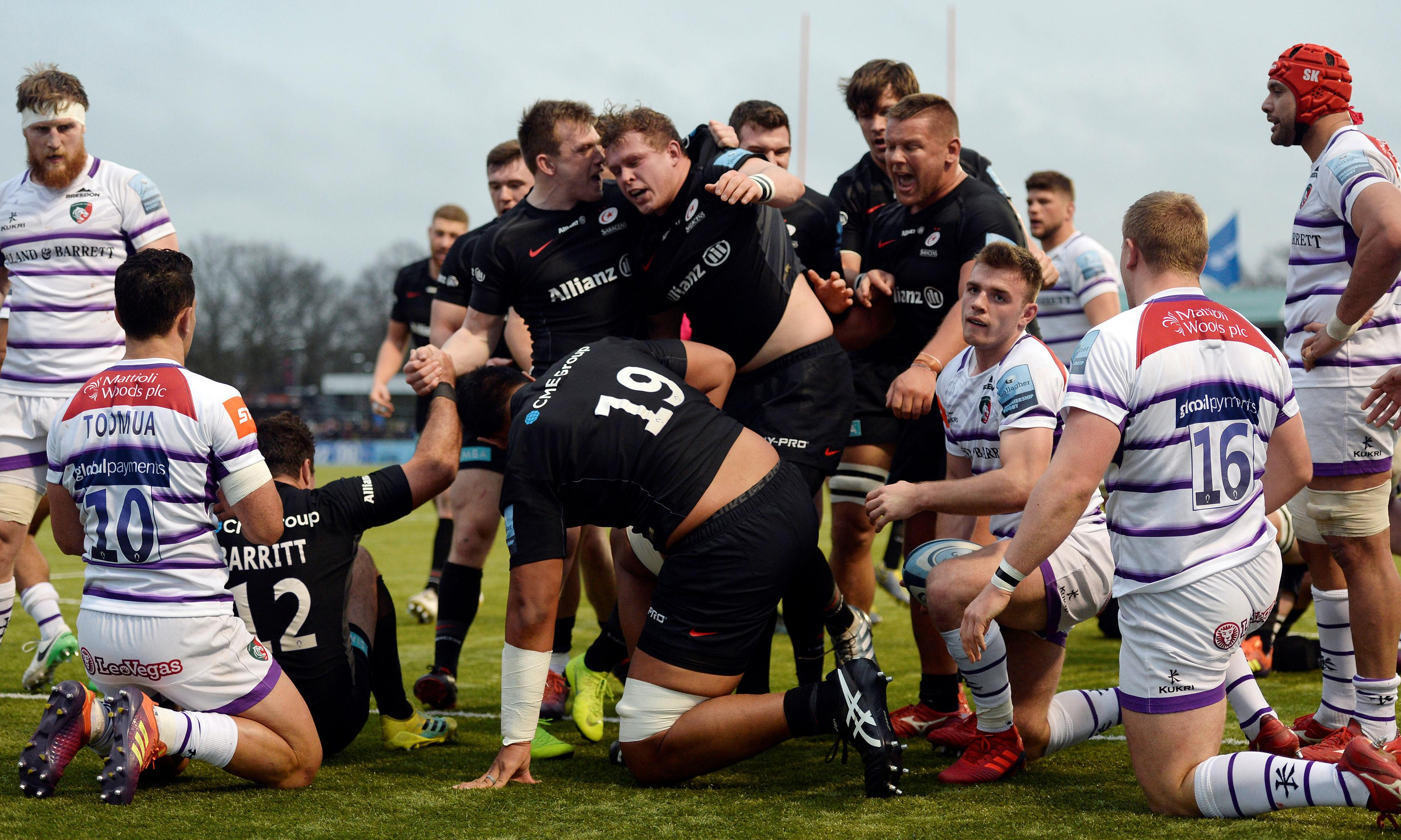 David Strettle try helps Saracens to the top of Premiership