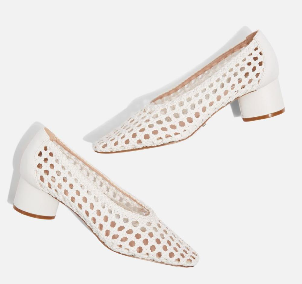 Joice woven mid heel shoes from Topshop.