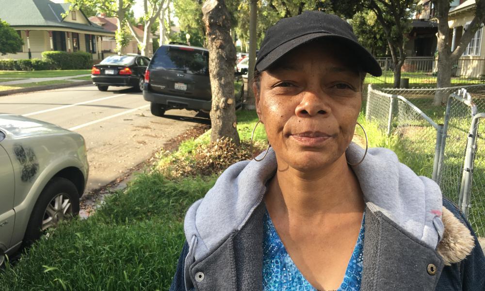 Tina Stevenson near the scene of the shooting in Fresno, California.