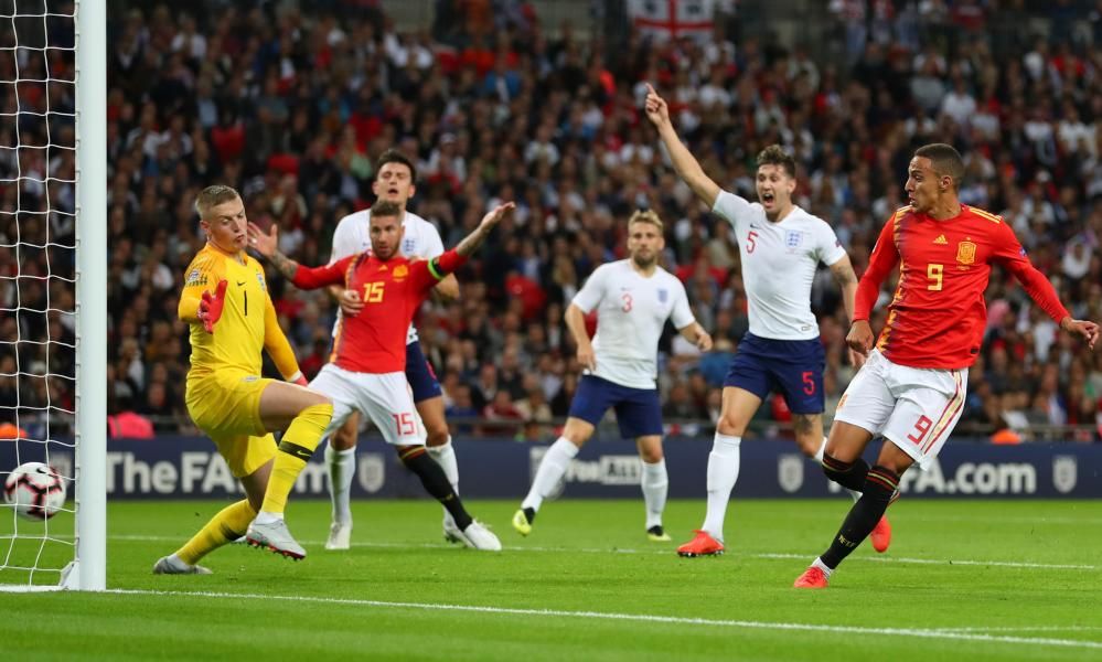 Rodrigo Moreno scores Spain's winning goal against England in the Nations League match at Wembley in September.