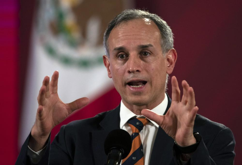 Assistant health secretary Hugo Lopez-Gatell speaks during a press conference at the Palacio Nacional in Mexico City.