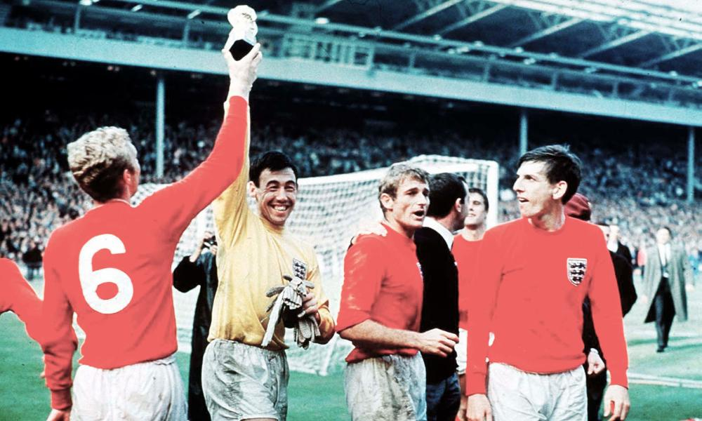 Gordon Banks enjoys the moment with Bobby Moore (left), Roger Hunt and Martin Peters (right) after England's 1966 World Cup win at Wembley.