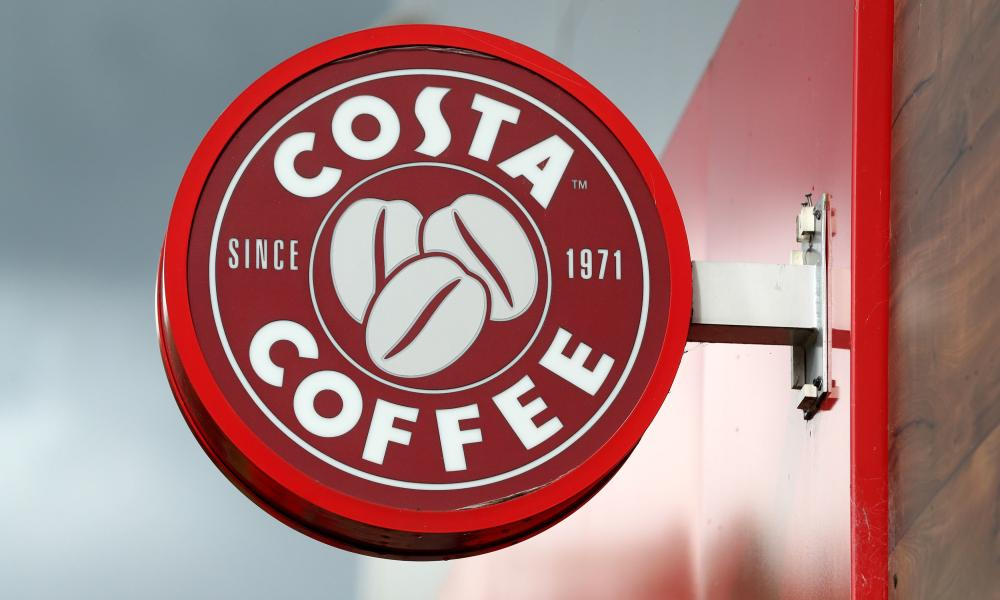 A general view of a Costa Coffee sign