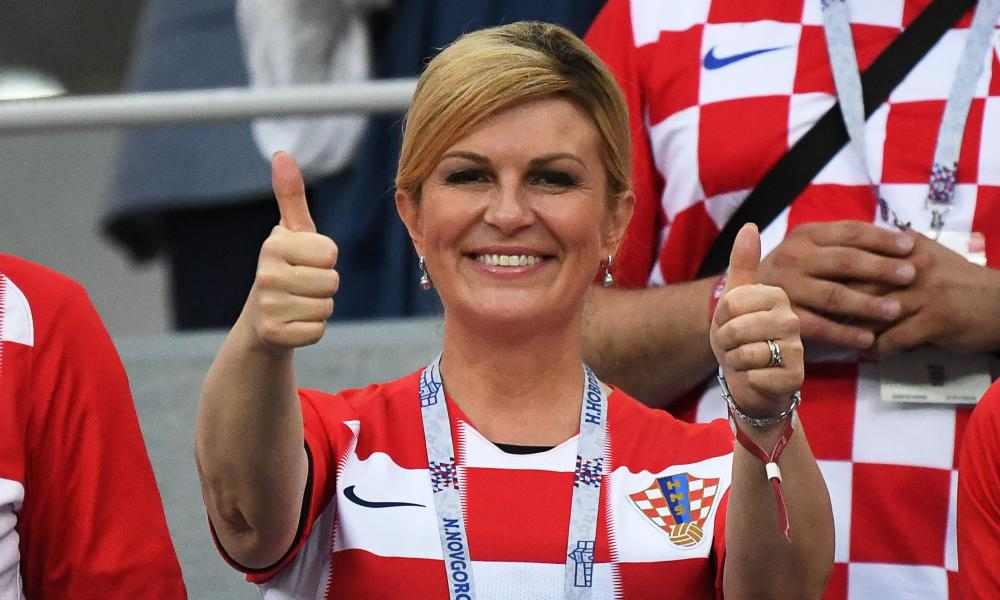 FBL-WC-2018-MATCH52-CRO-DENThe Croatian president, Kolinda Grabar-Kitarović, gives her team the thumbs-up.