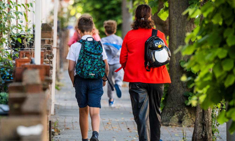 Pupils on their way to school