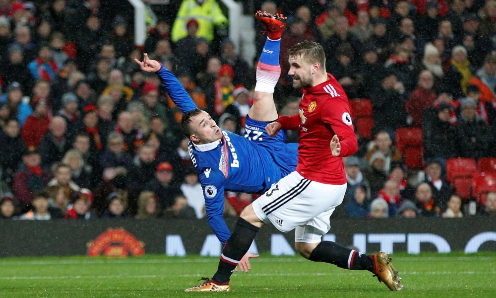 Stoke City's Xherdan Shaqiri shoots at goal
