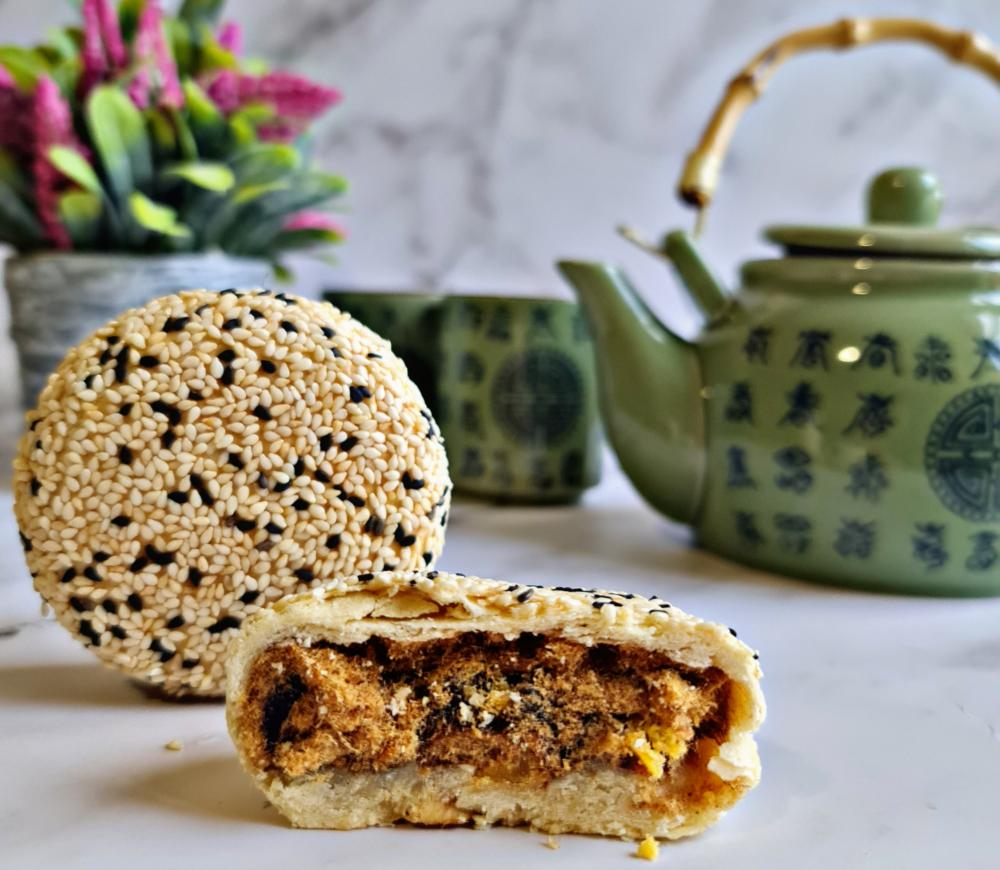 Amour Desserts' bestselling Taiwanese 3Q mooncake, enjoyed best with a pot of tea