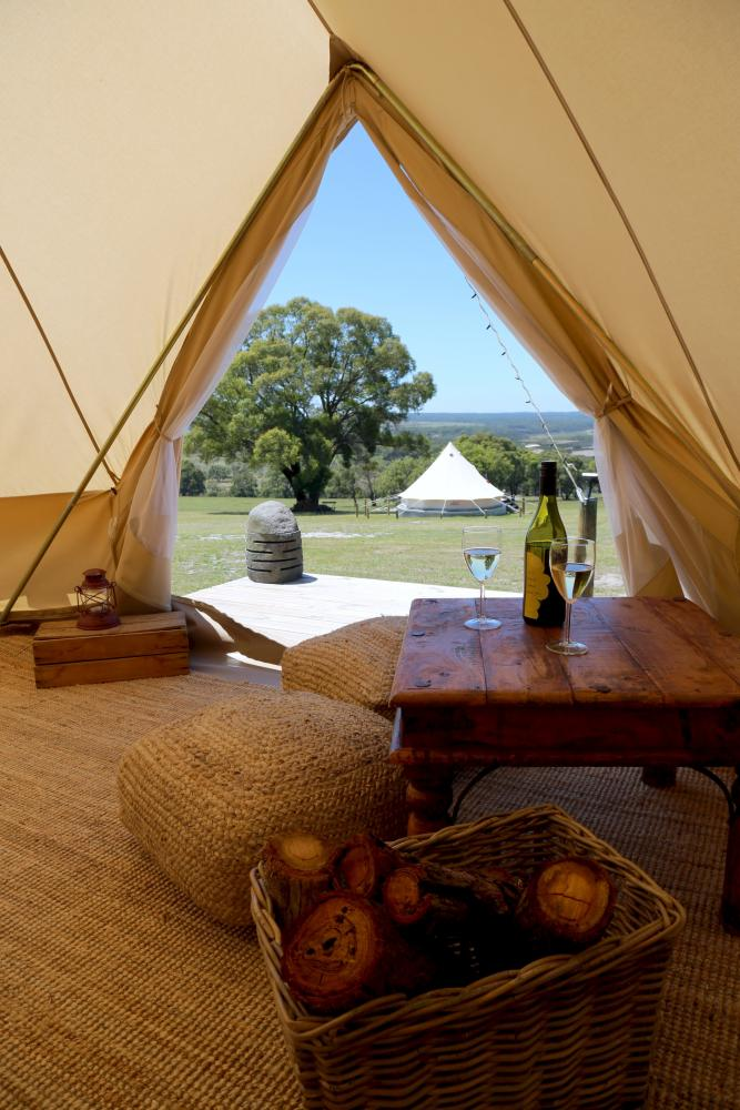 The view from inside a canvas bell tent at French Island Glamping.