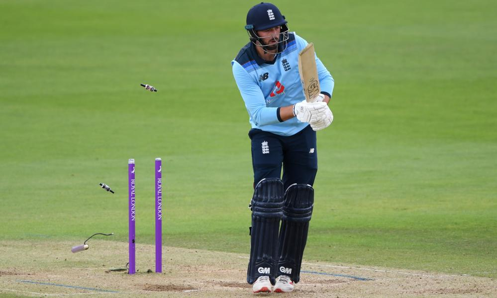 James Vince of England is bowled by Curtis Campher of Ireland.