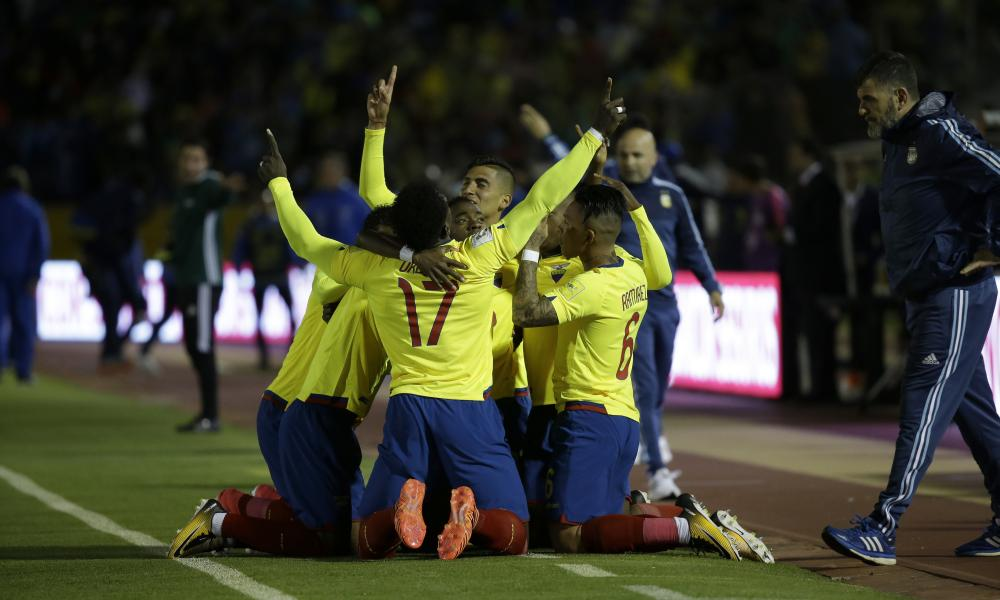 Ecuador celebrate after taking a shock early lead.