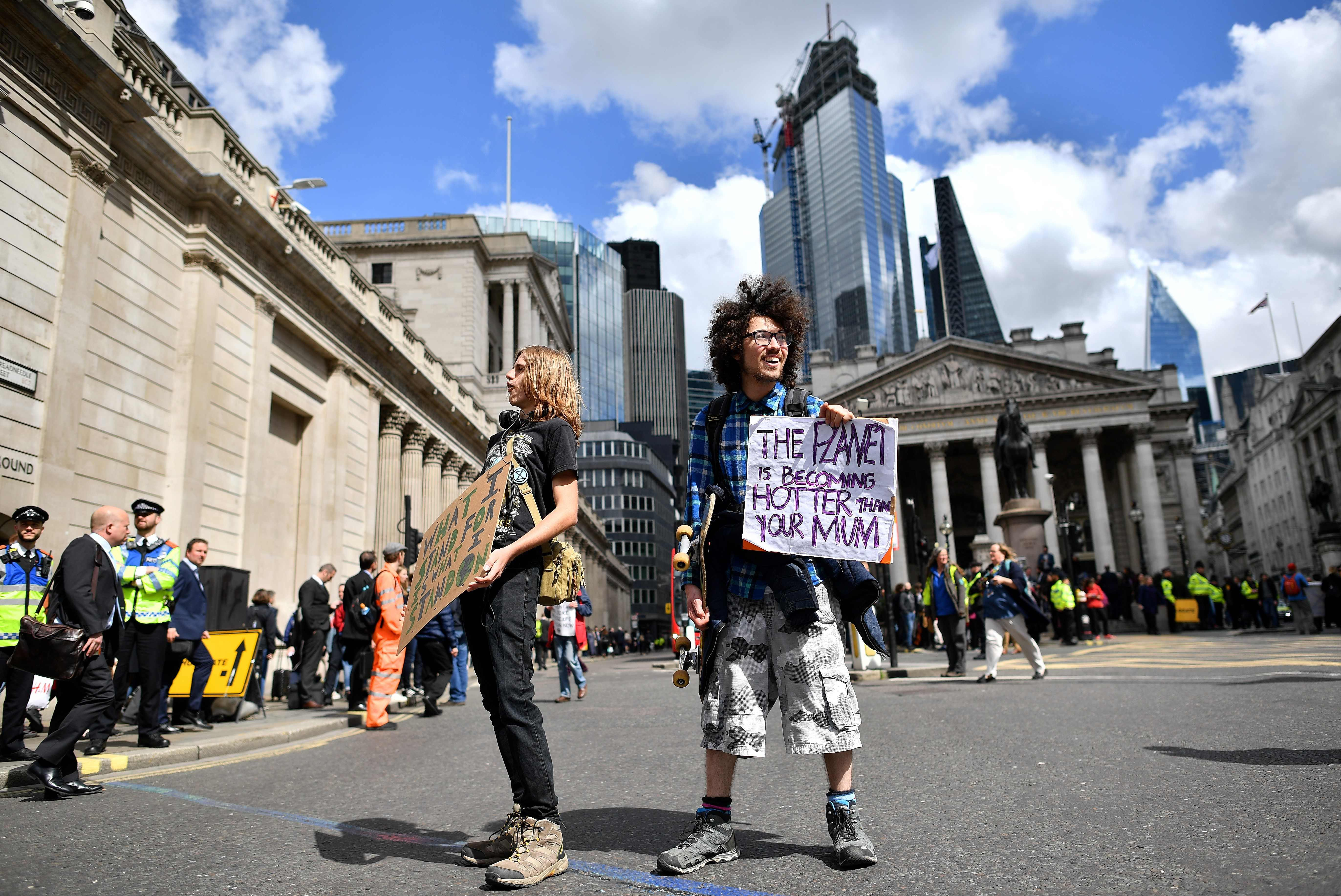 Extinction Rebellion protesters stop traffic in City of London