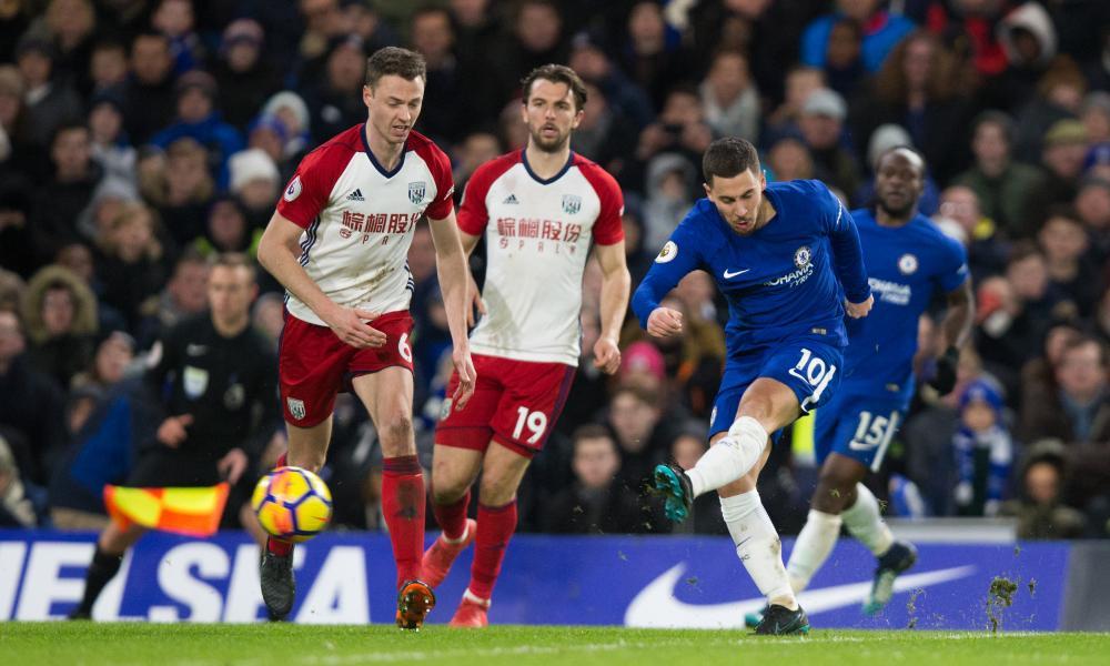 Chelsea's Eden Hazard fires in the third.