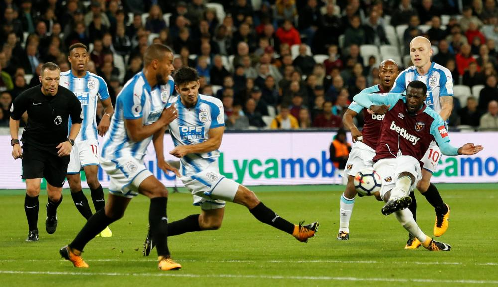 Pedro Obiang's shot deflects off the back of Jorgensen and drops into the net..