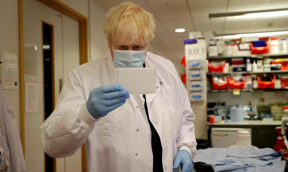 Boris Johnson on a visit to vaccine researchers at the Jenner Institute, University of Oxford, in September.
