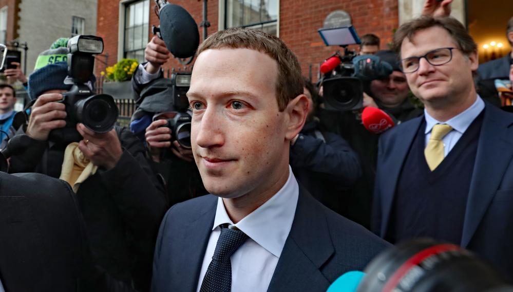 Clegg and Zuckerberg in Dublin in April 2019.