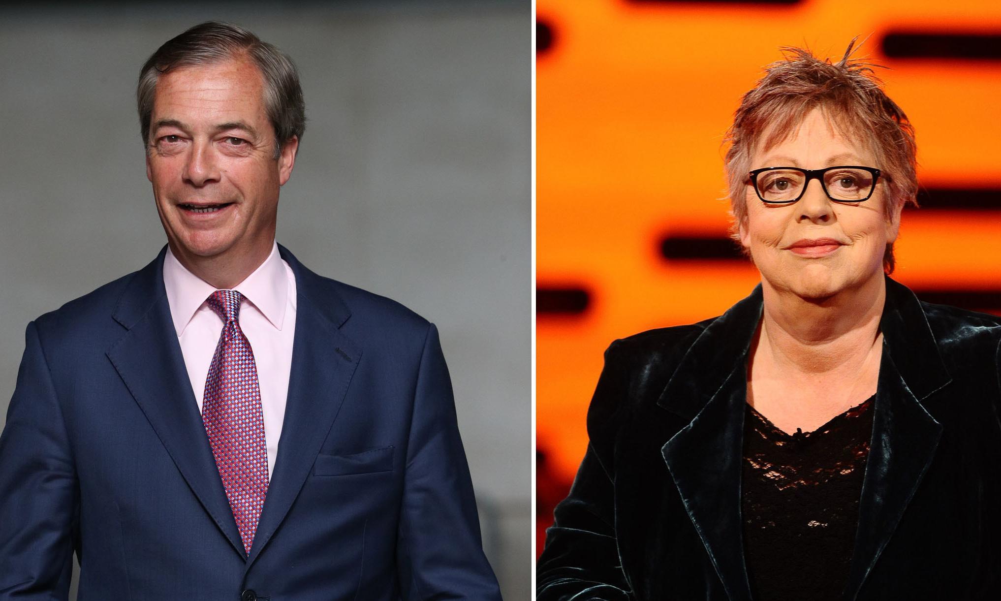Farage furious over Jo Brand's 'throw battery acid not milkshake' joke