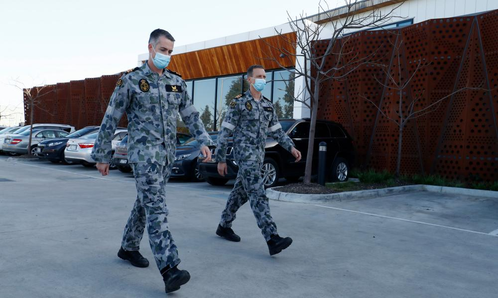 Australian Defence Force personnel at the Epping Gardens home in Melbourne