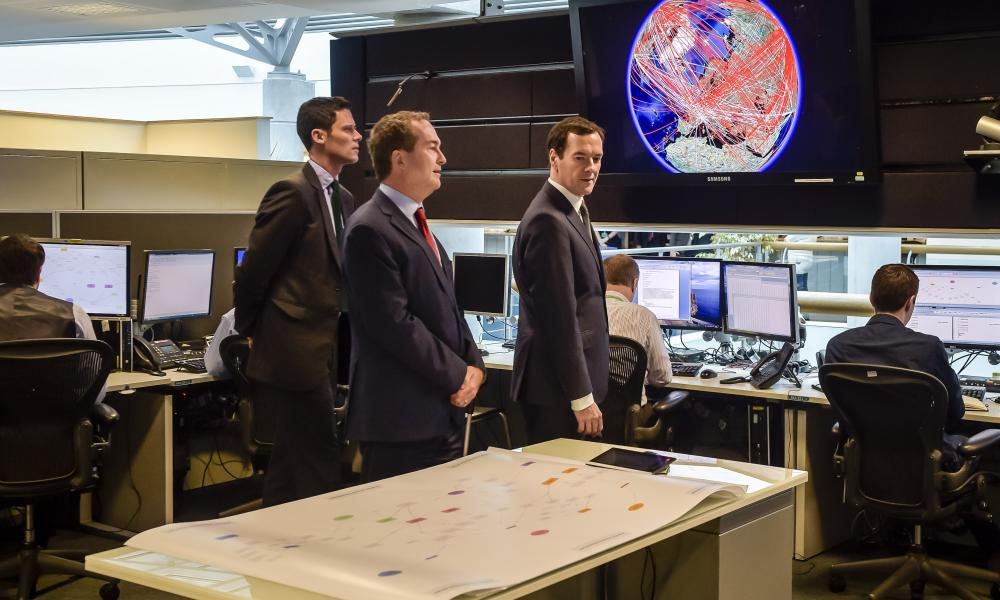 George Osborne in the 24-hour operations room at GCHQ.