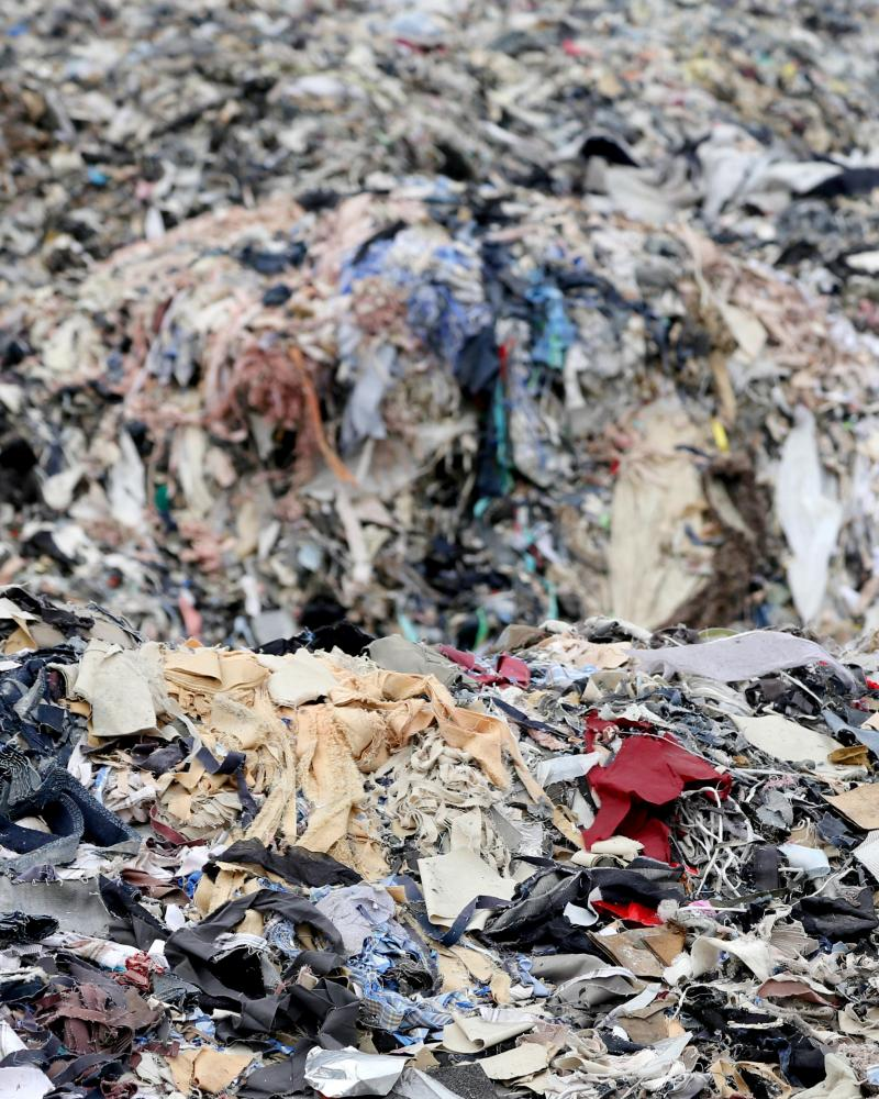 A dump full of clothing waste