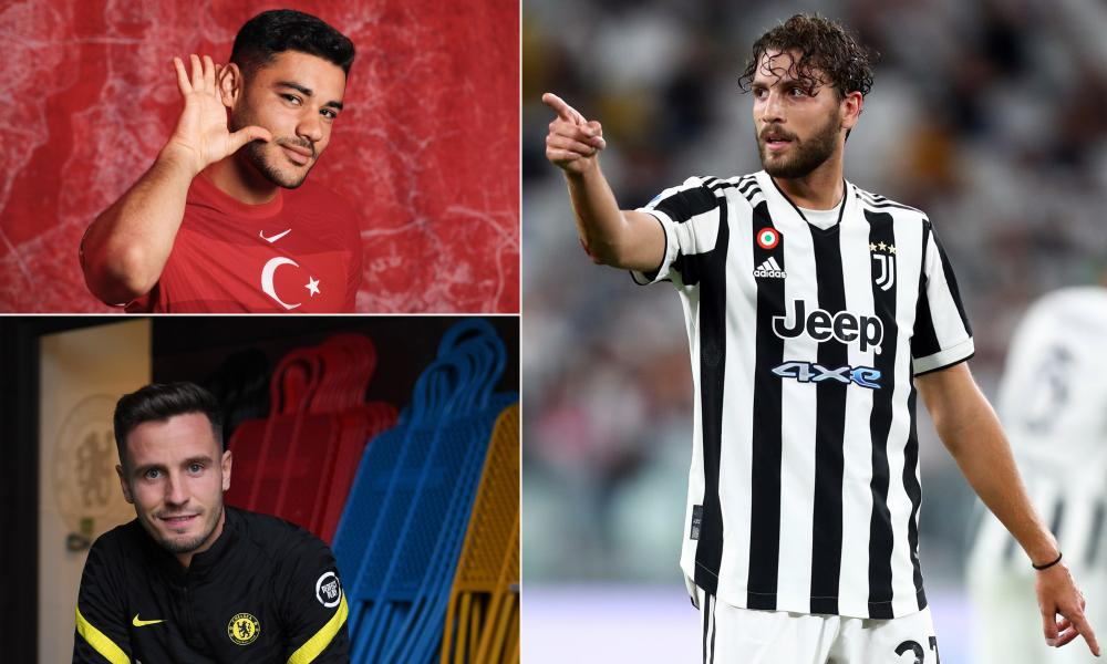 (Clockwise from top left) Ozan Kabak of Turkey, Manuel Locatelli of Juventus and Chelsea's Saúl Ñíguez.