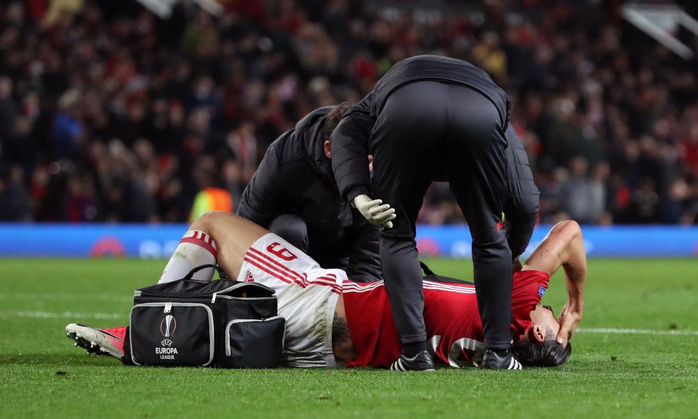 Zlatan Ibrahimovic has treatment before hobbling off.