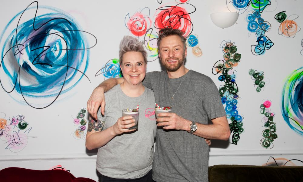 Meriel Armitage and Luke McLaughlin toast the opening of their vegan pub with Tequila Sours, cocktails made with chickpea water instead of egg whites