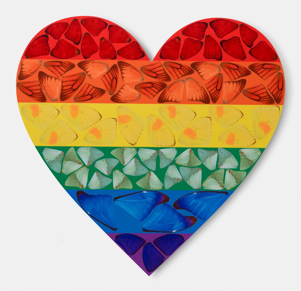 Butterfly Heart, the second of the limited edition rainbow prints by Damien Hirst.
