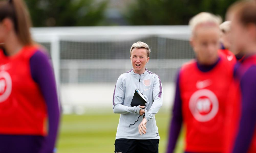 Priestman giving instructions during England training in France.
