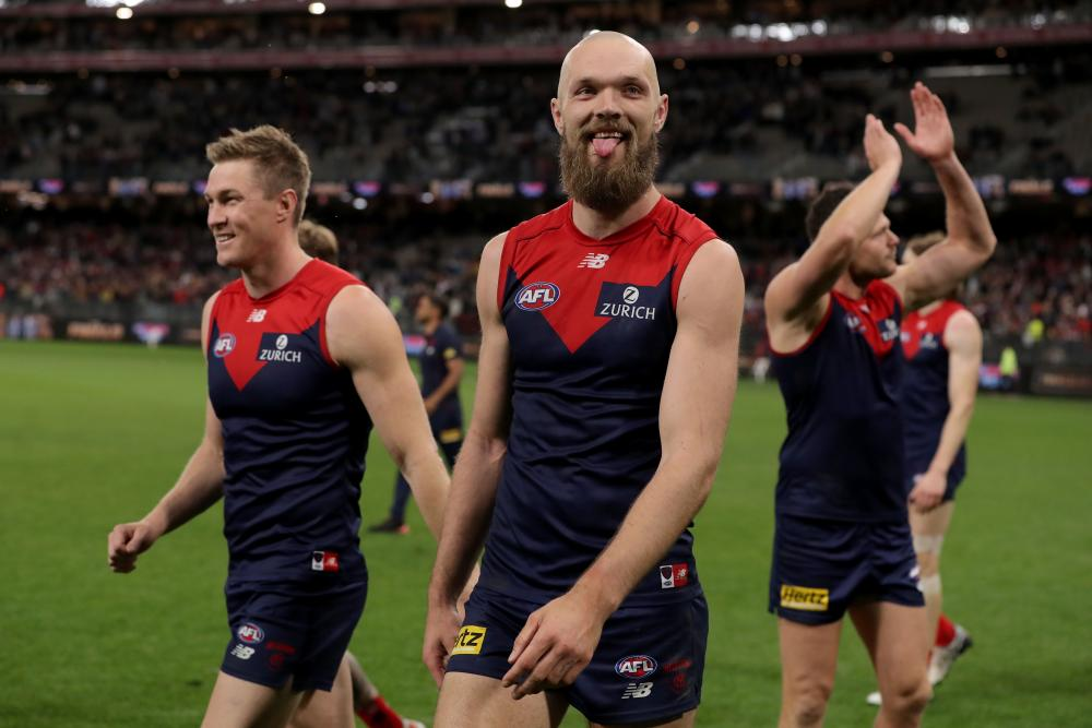 Max Gawn of Melbourne celebrates after winning the AFL preliminary final against Geelong in Perth on Friday.