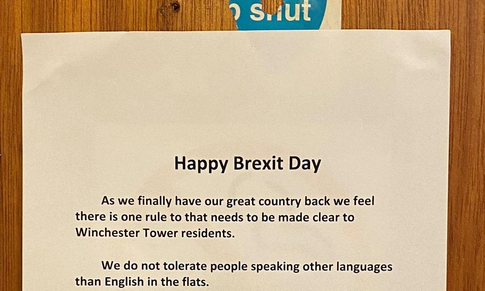 Norwich residents hold anti-racism protest at 'Brexit day' poster