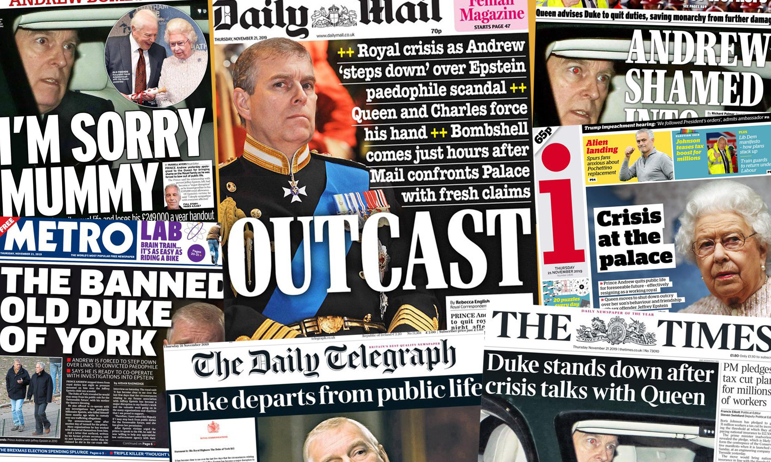 'Outcast': how the newspapers covered Prince Andrew's suspension of duties