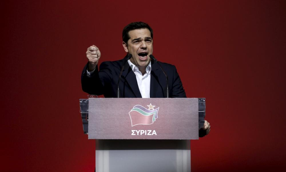 Greek PM Tsipras delivers a speech marking one year since he was first elected to power in Athens<br>Greek Prime Minister Alexis Tsipras delivers a speech marking one year since he was first elected to power in Athens, Greece, January 24, 2016. REUTERS/Alkis Konstantinidis TPX IMAGES OF THE DAY