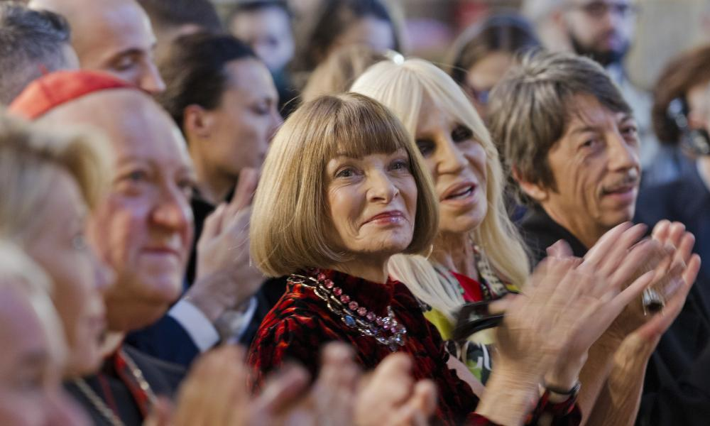 Cardinal Gianfranco Ravasi, Anna Wintour and Donatella Versace.
