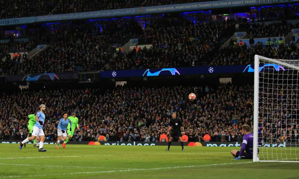 Sergio Aguero of Manchester City scores a goal from the penalty spot.