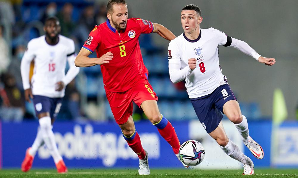 Phil Foden looks to instigate another England attack during their 5-0 victory over Andorra