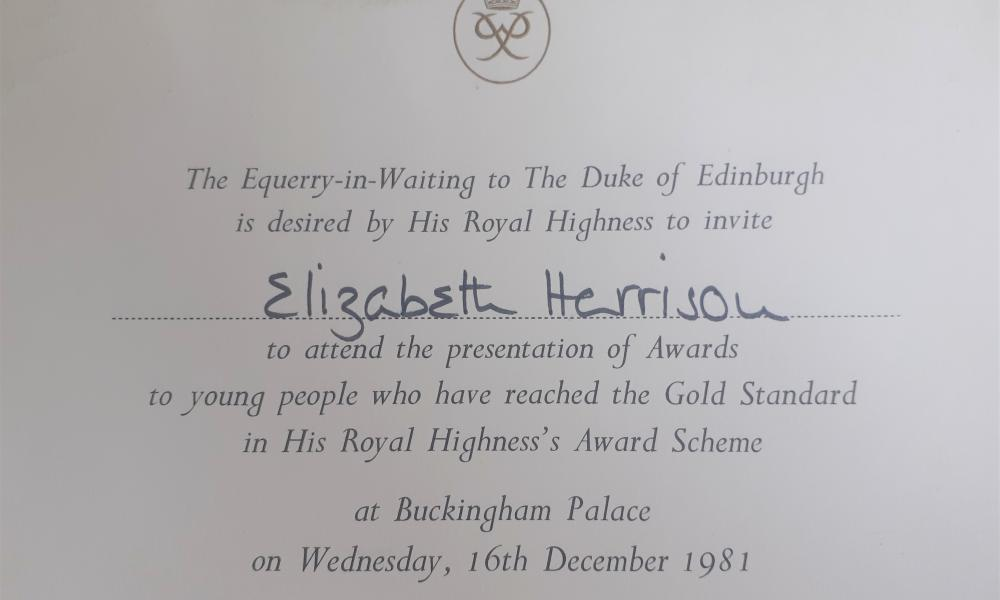 A photo of Elizabeth Harrison's invitation to receive her gold certificate for completing her Duke of Edinburgh's award.