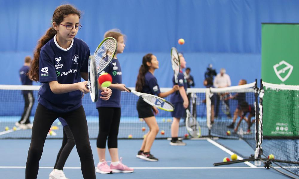 Young players practise at the Roehampton Club in London