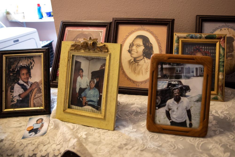 Family photos in Mary Hampton's house in Reserve Louisana.