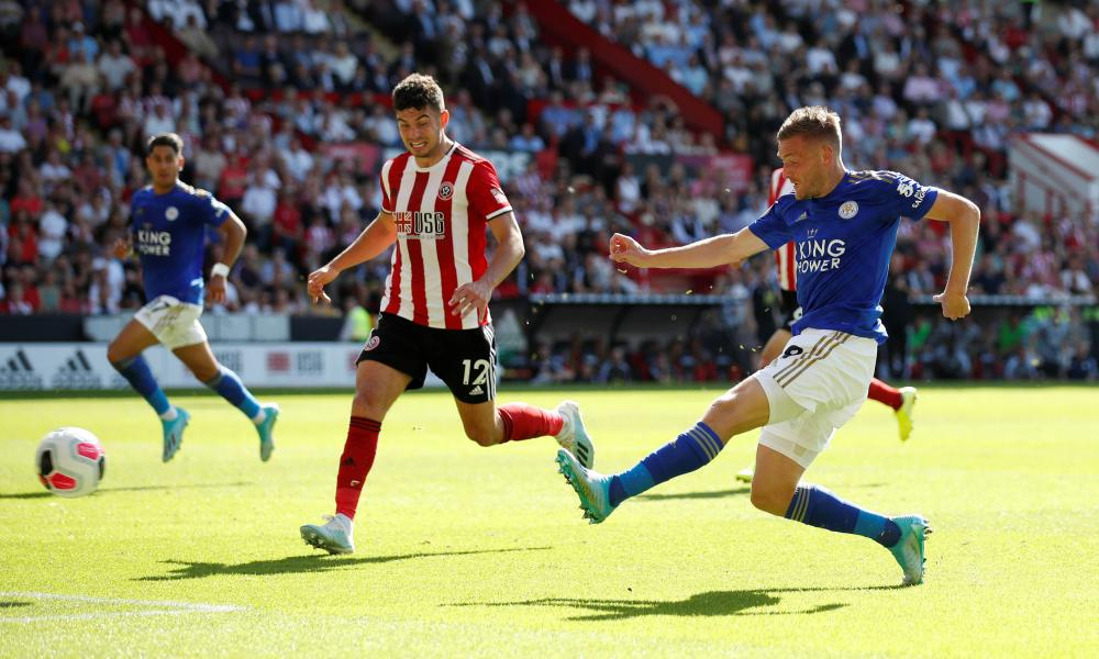 Leicester City's Jamie Vardy fires in the opening goal.
