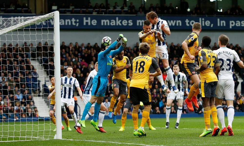West Bromwich Albion's Craig Dawson scores.