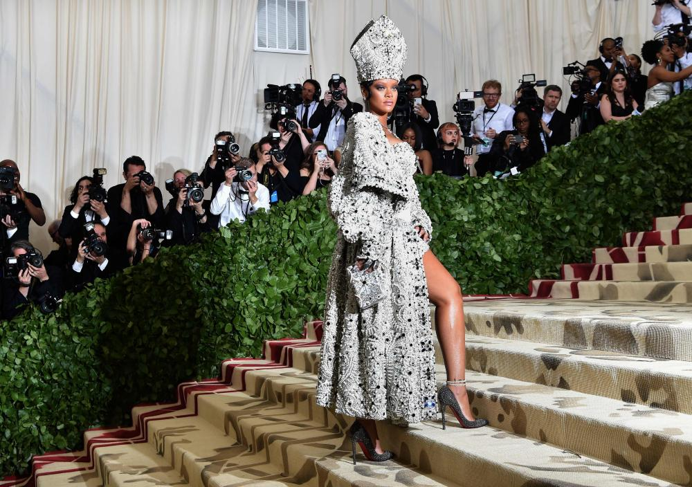 Rihanna in a mitre at last year's Met Gala.