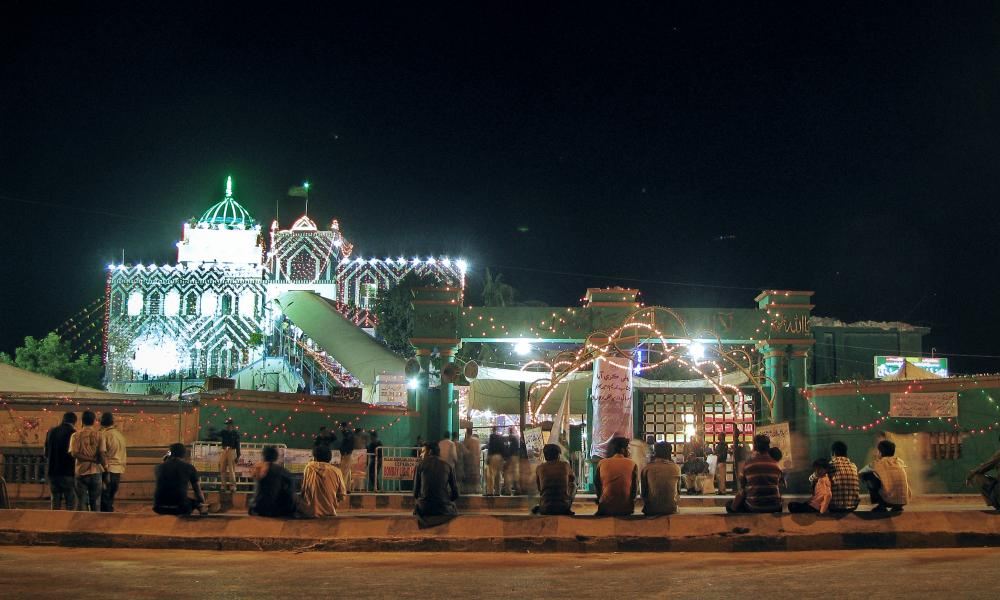 The shrine to Saint Abdullah Shah Ghazi, Karachi, Pakistan.