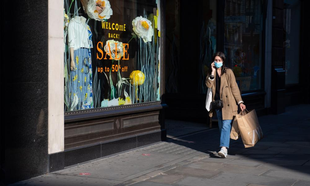 Shoppers on Regent Street, in London, as further restrictions are lifted to bring England out of the coronavirus lockdown.