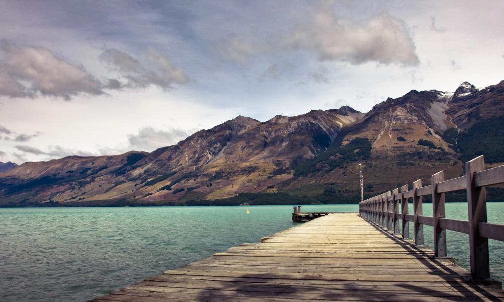A jetty at Glenorchy, near Queenstown, in New Zealand's South Island.